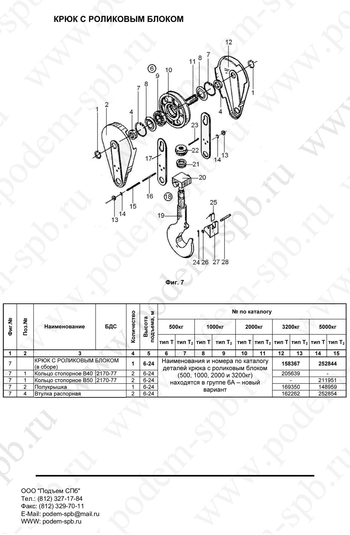 Крюковая подвеска тали электрической тельфера