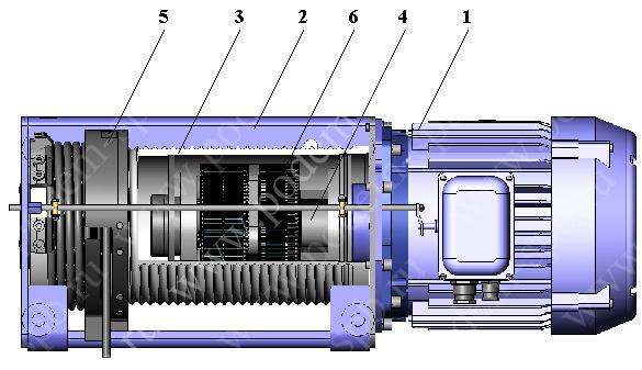 Кинематическая схема тали электрической тип VAT